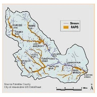 Map of streams, water bodies, and resource protection areas.