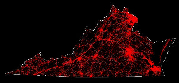 Scatterplot of police-reported crash locations in Virginia in 2011