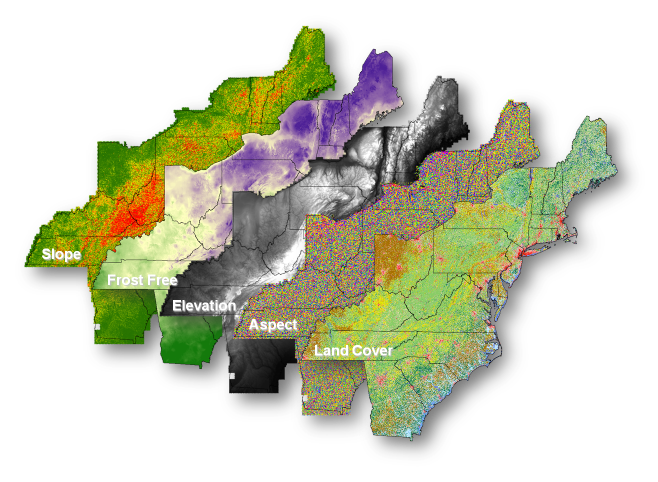 East Coast Data Layers Generated for the GIS-based Vineyards Suitability Tool